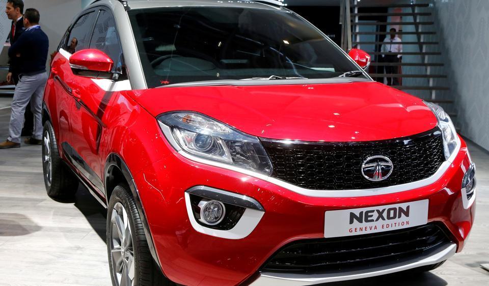 A Tata Nexon Geneva Edition car is seen during the 87th International Motor Show at Palexpo in Geneva, Switzerland.