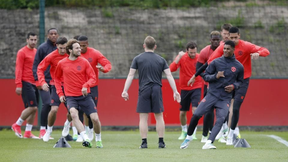 Manchester United players during a training session on the eve of their Europa League final match against Ajax.