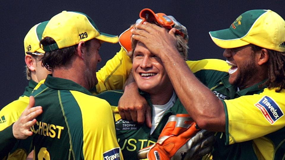 Shane Watson was the star as Australia cricket team beat West Indies cricket team in the final of the 2006 ICC Champions Trophy at CCI in Mumbai, winning the coveted trophy for the first time. (Santosh Harhare/ht photo)