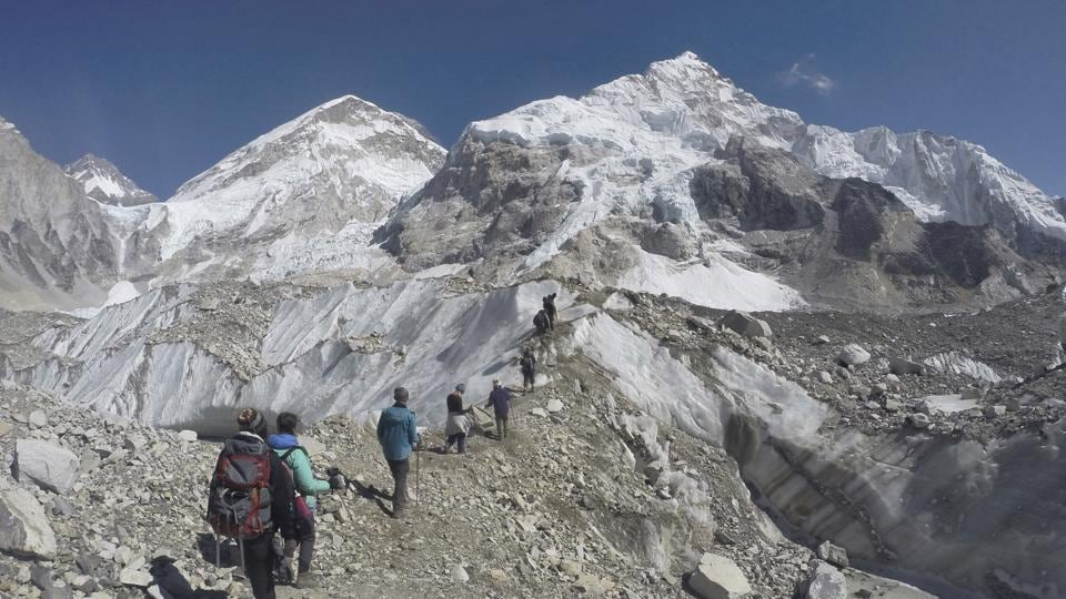 The Hillary Step is a sheer 12-meter (40-foot) vertical wall that is the last highly difficult section climbers must pass before reaching the summit.