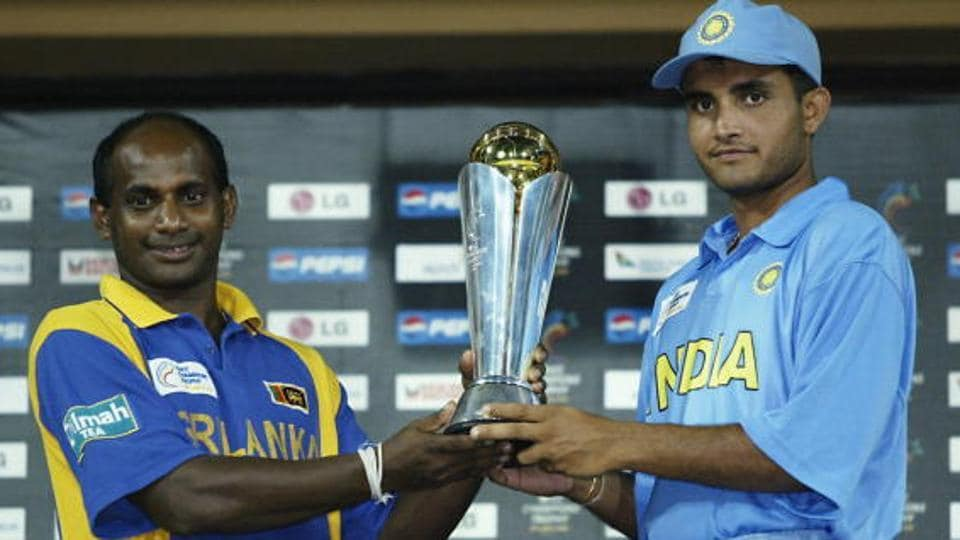 Sri Lanka cricket team skipper Sanath Jayasuriya and India cricket team skipper Sourav Ganguly with the 2002 ICC Champions Trophy after the final in Colombo was washed out too. India and Sri Lanka shareed the ICC Champions Trophy. (Getty Images)