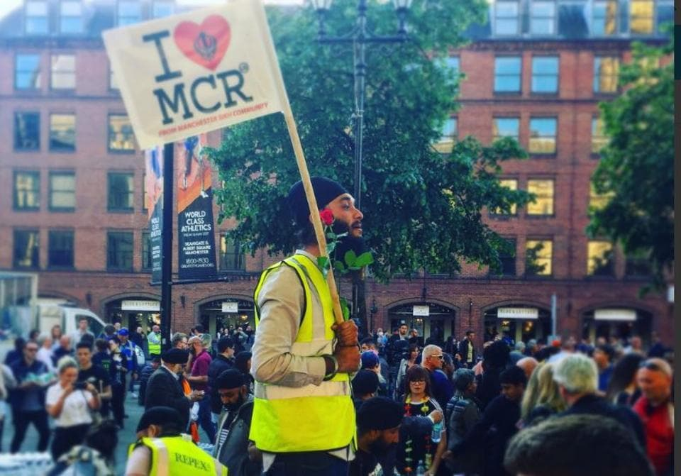 A member of the Sikh community at a vigil in Manchester on Tuesday.