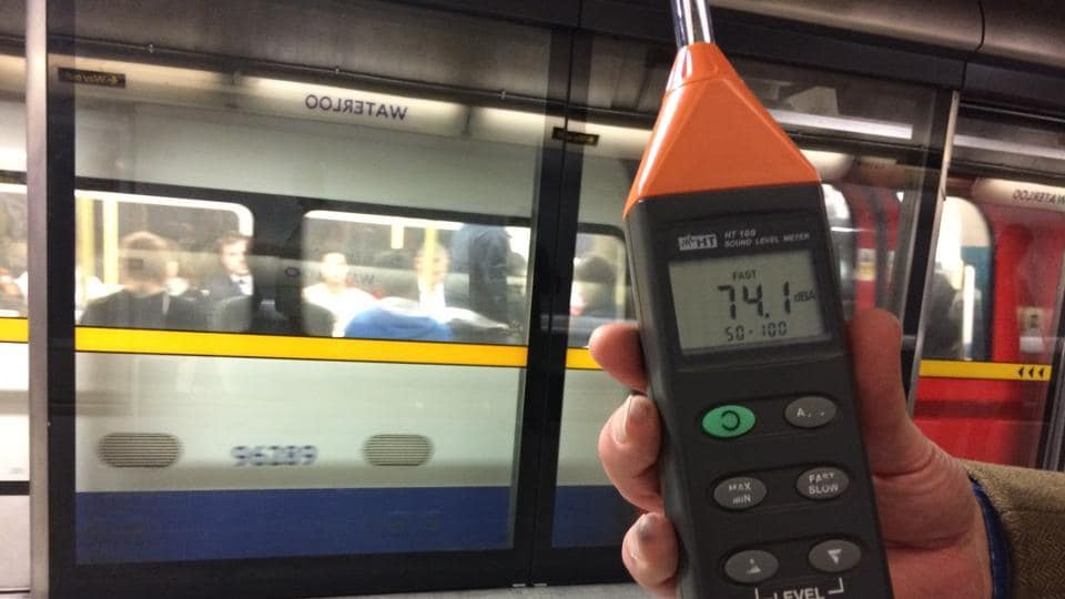 Noise level at the suburban trains in London, measured at both underground and overground ones, was at a maximum of 74.1 dB (sound of a toilet flushing).