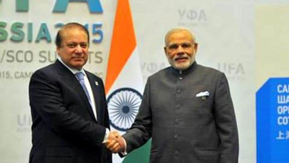 Prime Minister Narendra Modi shakes hands with his Pakistani counterpart Nawaz Sharif ahead of bilateral talks in Russia's Ufa in 2015.