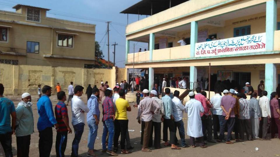 Voting in progress at Taloja.
