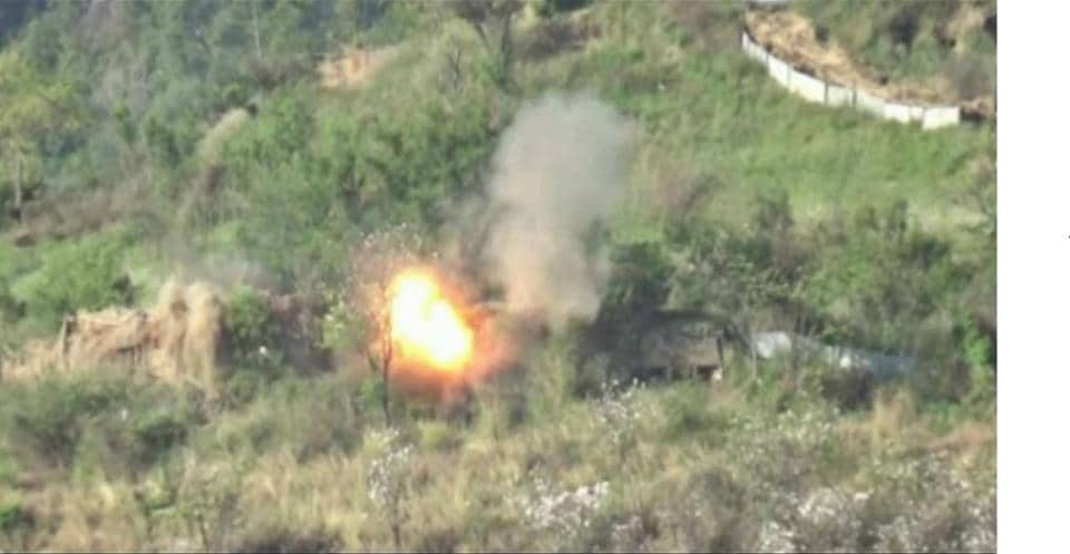 A Pakistani border post is hit by Indian weapons, as seen in a video released by the Indian army on Tuesday.