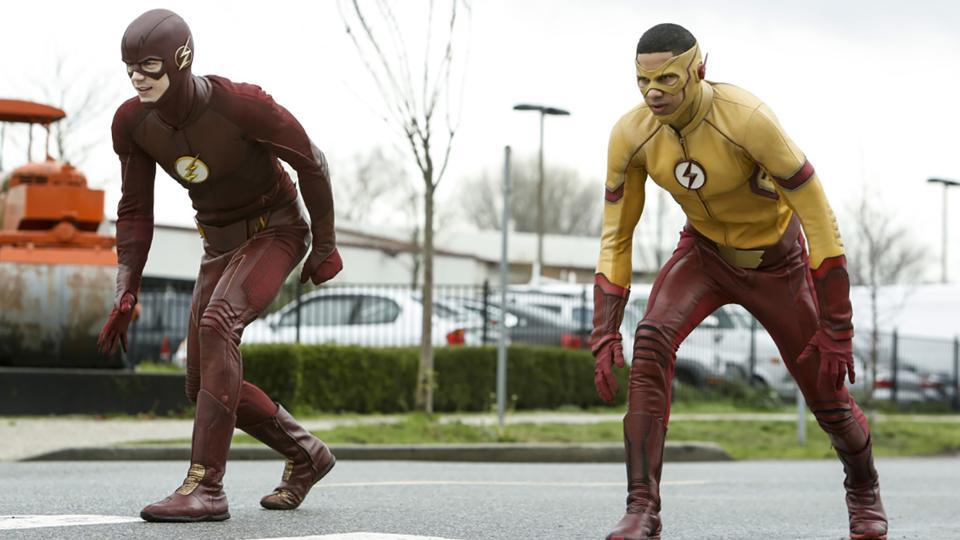 The Flash and Kid Flash during their race earlier this season.