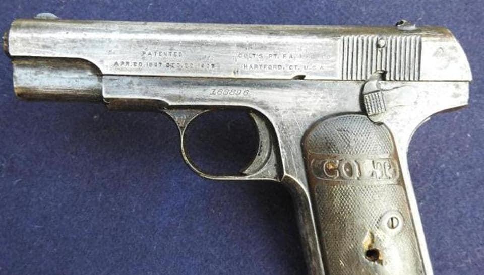 The pistol whose last bullet killed British Raj police officer John Saunders on December 17, 1928.