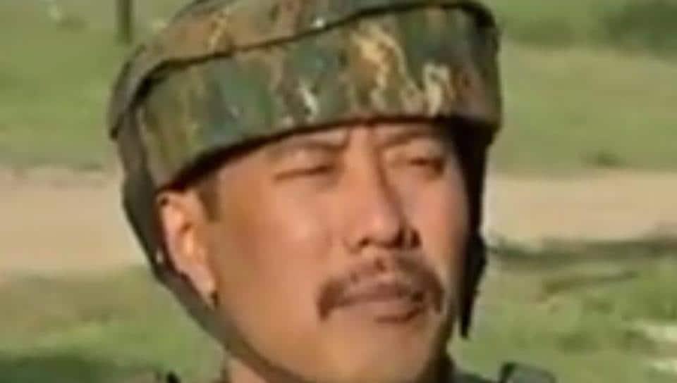 Indian Army Major Leetul Gogoi addresses the press.