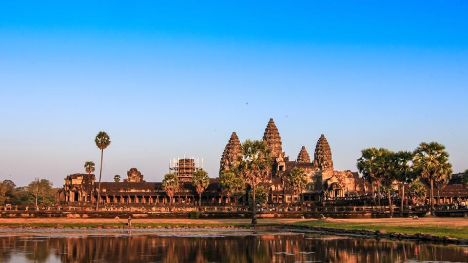 The Angkor Wat temple complex in Cambodia is the largest religious monument in the world.