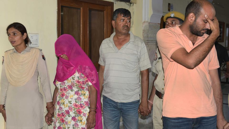 Mukesh (right) and Bhagwani Devi, involved in the murder of Amit Nayar, in Jaipur on Wednesday.