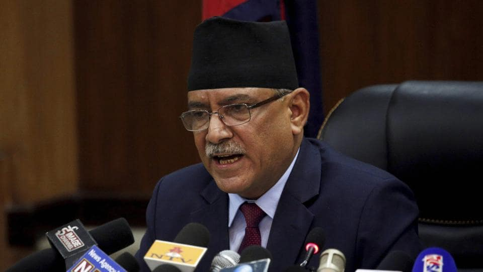 Nepal Prime Minister Pushpa Kamal Dahal announces his resignation on Wednesday.
