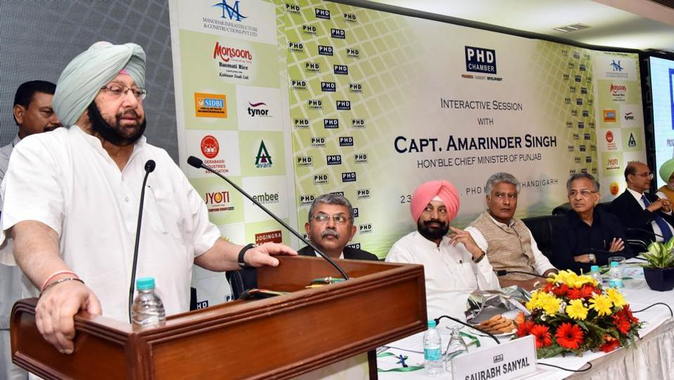 Chief minister Captain Amarinder Singh during an interactive session at the PHDCCI in Chandigarh on Tuesday.