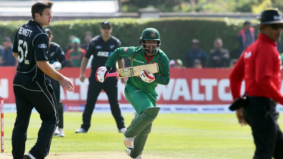 Tamim Iqbal runs between wickets during the Tri-Series final One-Day International between Bangladesh and New Zealand at Clontarf cricket ground in Dublin.