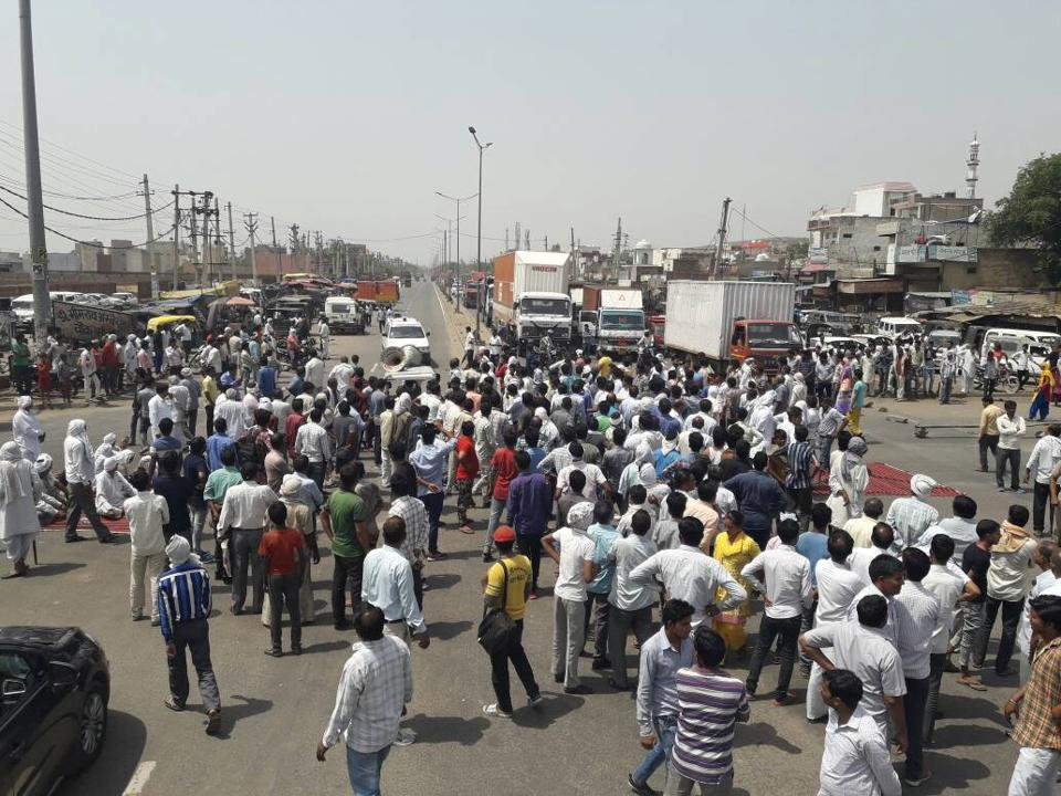 Gurgaon,sohna protest,road blocked