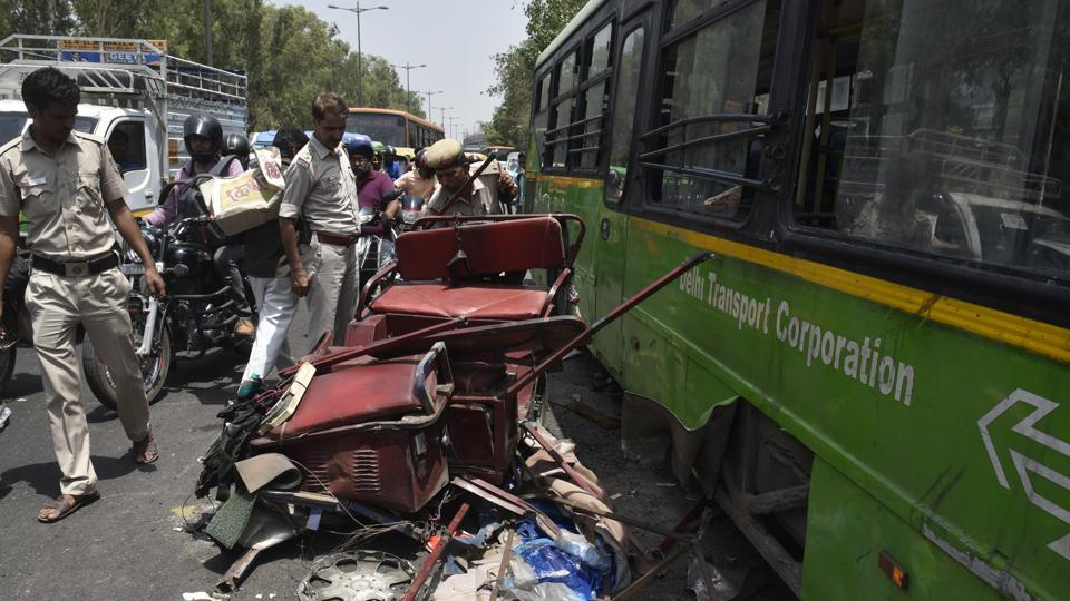 A DTC bus hit two e-rickshaws and an auto in Azadpur killing two people in Azadpur on Wednesday. Police suspect the driver lost control over the bus after a tyre burst.