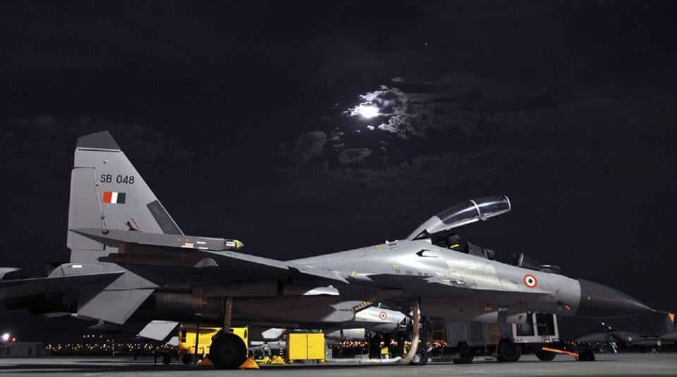 Handout photo from the Indian Air Force shows a Su-30 MKI combat jet during the Red Flag joint exercise by Indian and US air forces at Nellis airbase in the US in 2008.