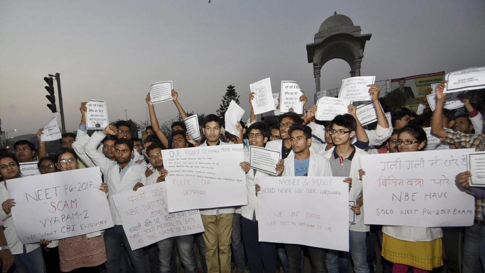 Junior doctors protest in Patna.