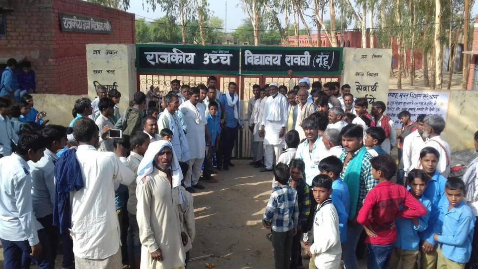 The government school in Rawli village in Mewat district where parents locked the main gate on Wednesday morning.