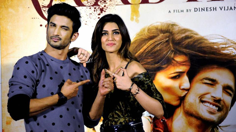 Sushant Singh Rajput and Kriti Sanon during the trailer launch of their upcoming film Raabta in Mumbai on Monday.