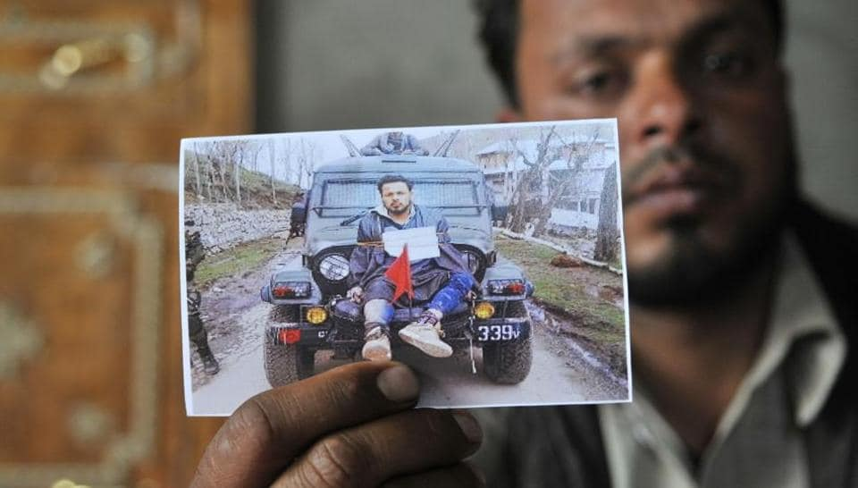 Farooq Ahmad Dar was tied to an open Army vehicle and paraded through 17 villagers by Army officers on April 9.