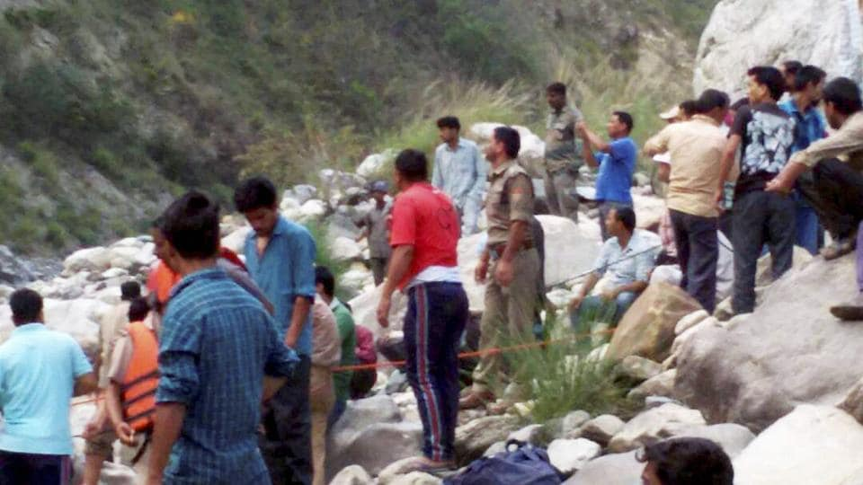 Rescue works underway after bus accident in Uttarkashi on Wednesday.
