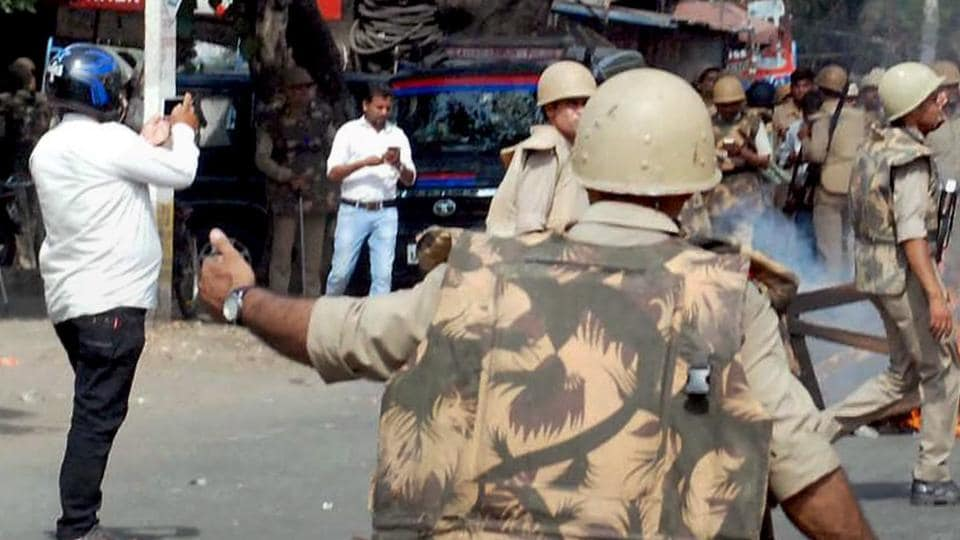 Police in action after violence broke out during an Ambedkar Jayanti Shobhayatra in Saharanpur recently.