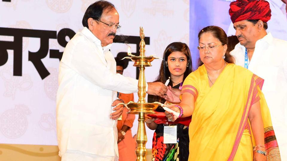 Union urban development minister Venkaiah Naidu, chief minister Vasundhara Raje and agriculture minister Prabhulal Saini inaugurate GRAM 2017 in Kota on Wednesday.