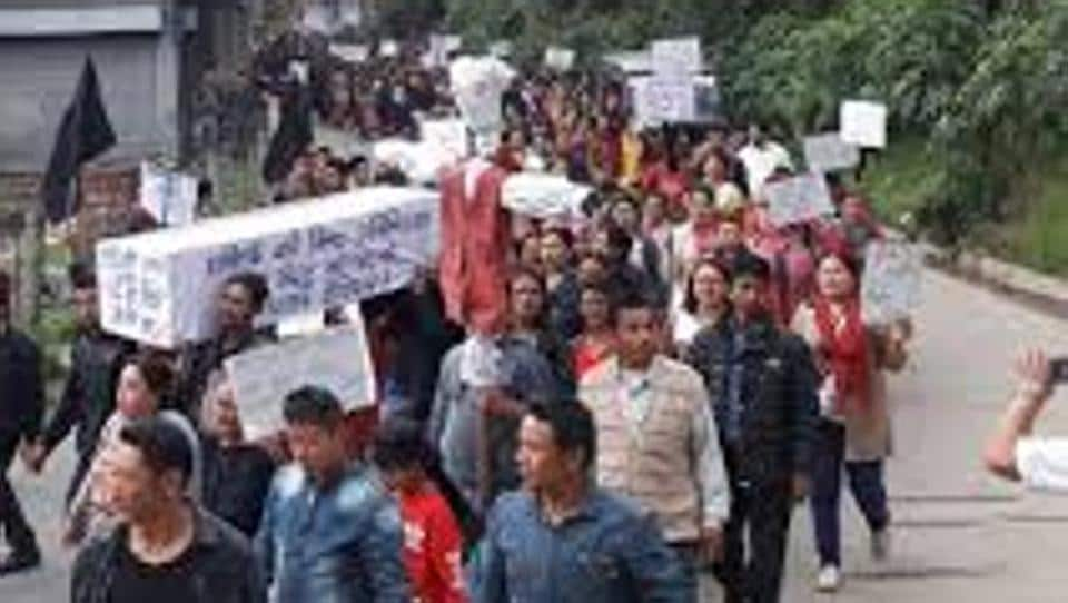 A protest rally in the hills. Over the past few decades the central issue of politics has been the demand for Gorkhaland.