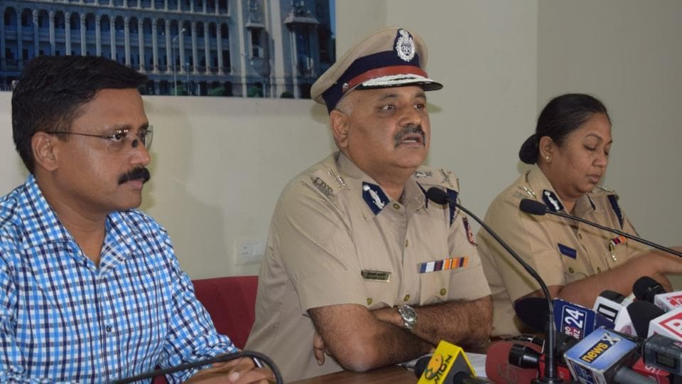 Bengaluru police commissioner Praveen Sood addresses a press conference on Thursday.