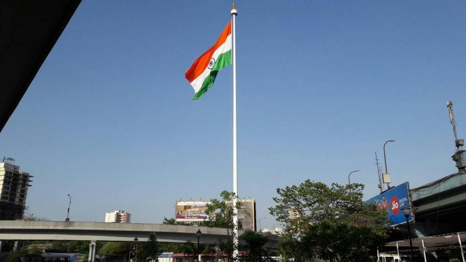 The flag was installed at Golden Dyes junction owing to its prime location.