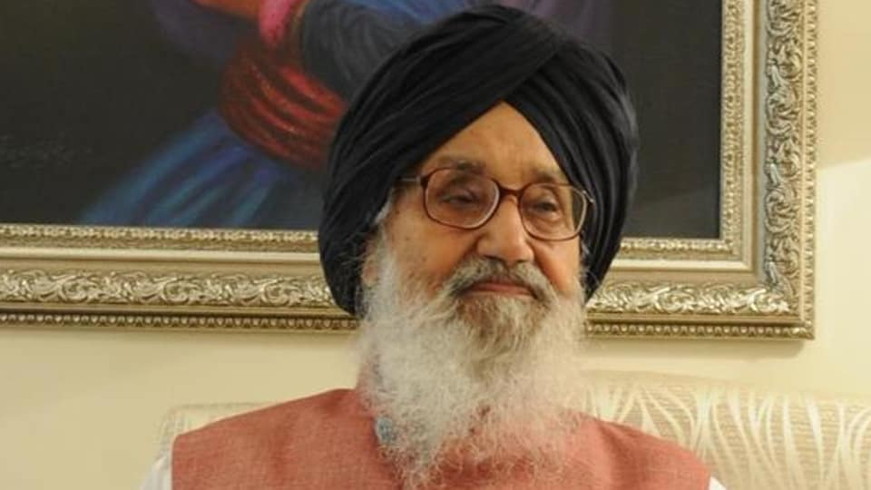 Former Punjab chief minister Parkash Singh Badal .