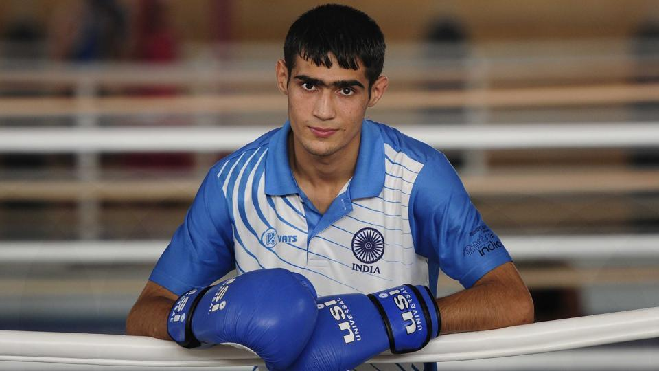 One of India's most promising junior boxers, Sachin Siwach clinched a gold in the Youth World Boxing Championship held at St. Petersburg, Russia, in December last year. (HT Photo)