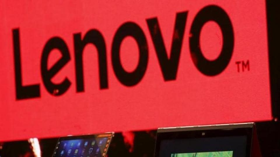 A Lenovo ultrabook and a tablet are displayed during a news conference in Hong Kong.