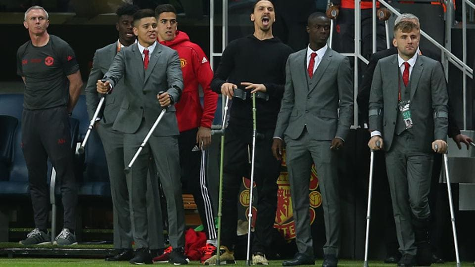 Manchester United's trophies from a long and brutal season was best illustrated by the presence of their injured players at the sidelines of the UEFA Europa League final against Ajax Amsterdam. From left, Marcos Rojo, star striker Zlatan Ibrahimovic, Eric Bailly and Luke Shaw rooted for their side as they beat Ajax to win the crown.  (Getty Images)
