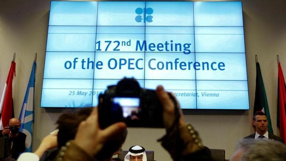 OPEC President Saudi Arabia's Energy Minister Khalid al-Falih talks to journalists before the beginning of a meeting of the Organization of the Petroleum Exporting Countries (OPEC) in Vienna, Austria, May 25, 2017.