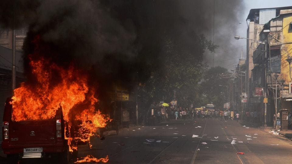 A view of a street near Lalabazar. A police vehicle was set on fire on B B Ganguly street while some police vehicles were damaged, allegedly by BJP workers, on Central Avenue and Bentinck street. (PTI)