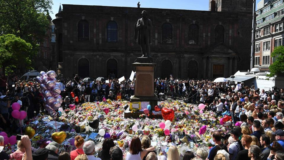 A minute's silence is observed at a gathering in St Ann's Square, in central Manchester, on Thursday, as a mark of respect to the victims of the May 22 terror attack at the Manchester Arena. Britain has raised its terror alert to the maximum level and ordered troops to protect strategic sites after 22 people were killed in a suicide bomb attack on a Manchester pop concert. The ICC Champions Trophy cricket tournament will be held in the country from June 1 to 18, and teams are trying to ensure that the security at the venues are water tight.