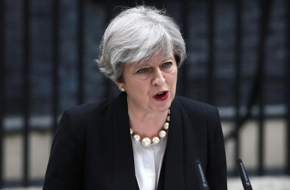 Britain's Prime Minister Theresa May outside 10 Downing Street in London.