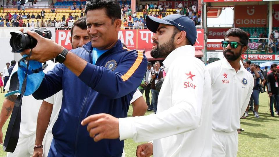 Anil Kumble and Virat Kohli on day 4 of the fourth Test match between India and Australia in Dharamsala on March 28. Anil Kumble's tenure as Indian cricket team coach ends in June 2017 after the completion of the ICC Champions Trophy in UK