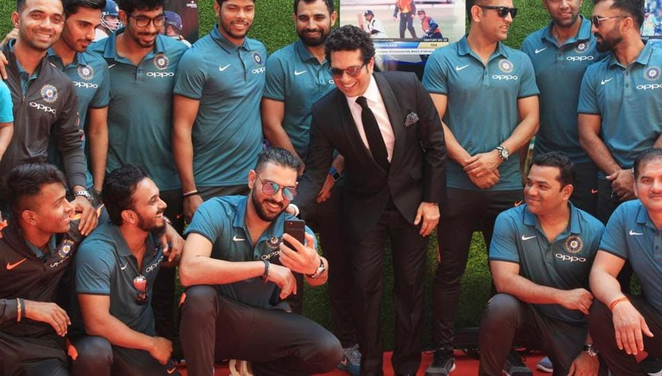 The Indian cricket team players, who departed for England for the upcoming ICCChampions Trophy 2017 late on Wednesday, had a date they couldn't miss, the premiere of 'Sachin:A Billion Dreams' at PVR Icon in Andheri, Mumbai, on Wednesday. The players, some of whom have played with Sachin Tendulkar while few others started playing inspired by the Master, were seen sharing light moments with Tendulkar and thoroughly enjoyed the screening of the biopic, which is the inspiring tale of Sachin's journey in the sport. (Prodip Guha)