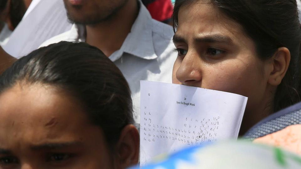 Students come out of examination center after appearing for NEET in Jaipur , Rajasthan on May 7.