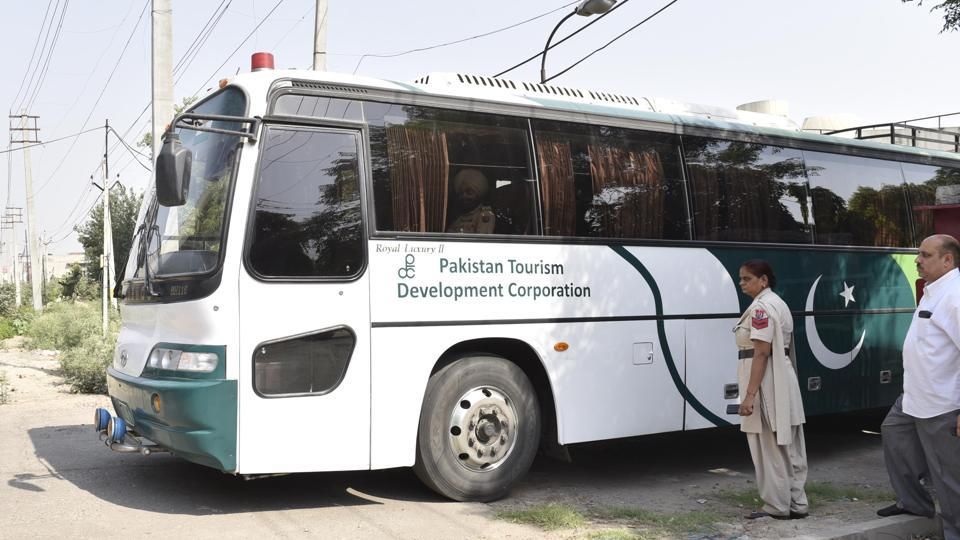 The 'Dosti' bus leaving for Nankana Sahib in Pakistan with no passenger on board in Amritsar on Wednesday.