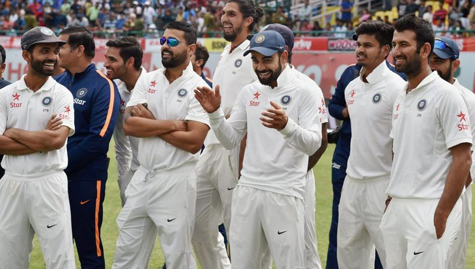 Virat Kohli with teammates after winning the Test series against Australia in Dharamsala earlier this year. Kohli is looking for similar success in the upcoming ICCChampions Trophy 2017.