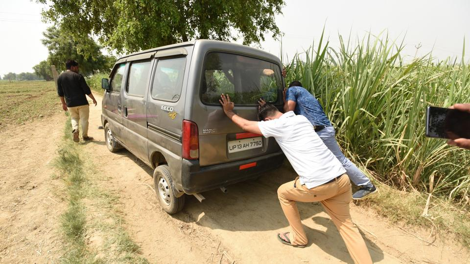 The car in which eight members were travelling to Bulandshahr from Jewar. Four women were allegedly gang-raped and one man was shot dead by armed assailants in Greater Noida on Thursday.