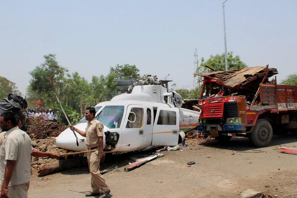 The wreckage of the Sikorsky VT-CMM helicopter, carrying chief minister Devendra Fadnavis and his team, that crashed-landed at Nilanga in May.