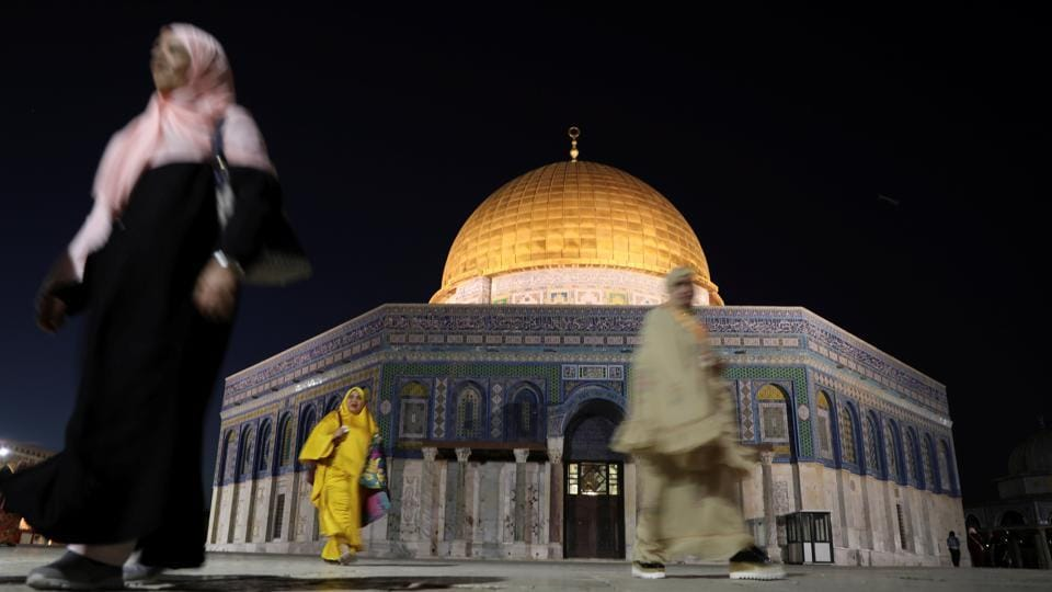 Al-Aqsa, in English means 'The farthest mosque'. It alludes to a chapter of Quran in which the Muhammad travelled from Mecca to the farthest mosque and then up to Heaven.   (Ammar Awad/REUTERS)