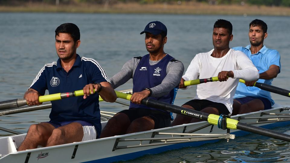 Designed for four people who propel the boat with sweep oars, a coxless four is a competitive sports rowing boat. (Mujeeb Faruqui/HT Photo)
