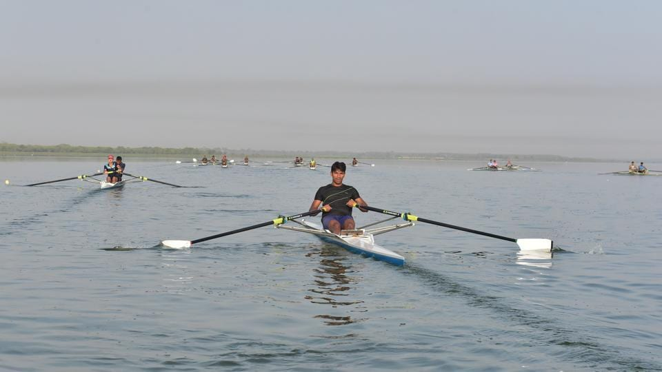 Just a handful of states impart training for rowing in India. Most players belong to the defence services with rowing being quite popular in the Indian Army.  (Mujeeb Faruqui/HT Photo)