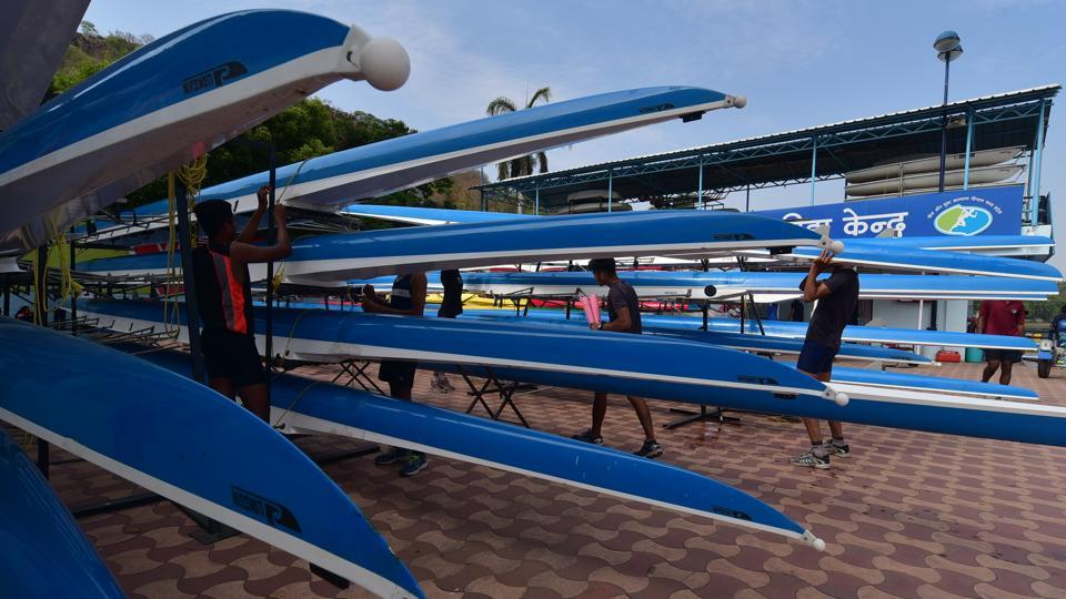 Race boats carefully parked with proper spacers by the team athletes. (Mujeeb Faruqui/HT Photo)